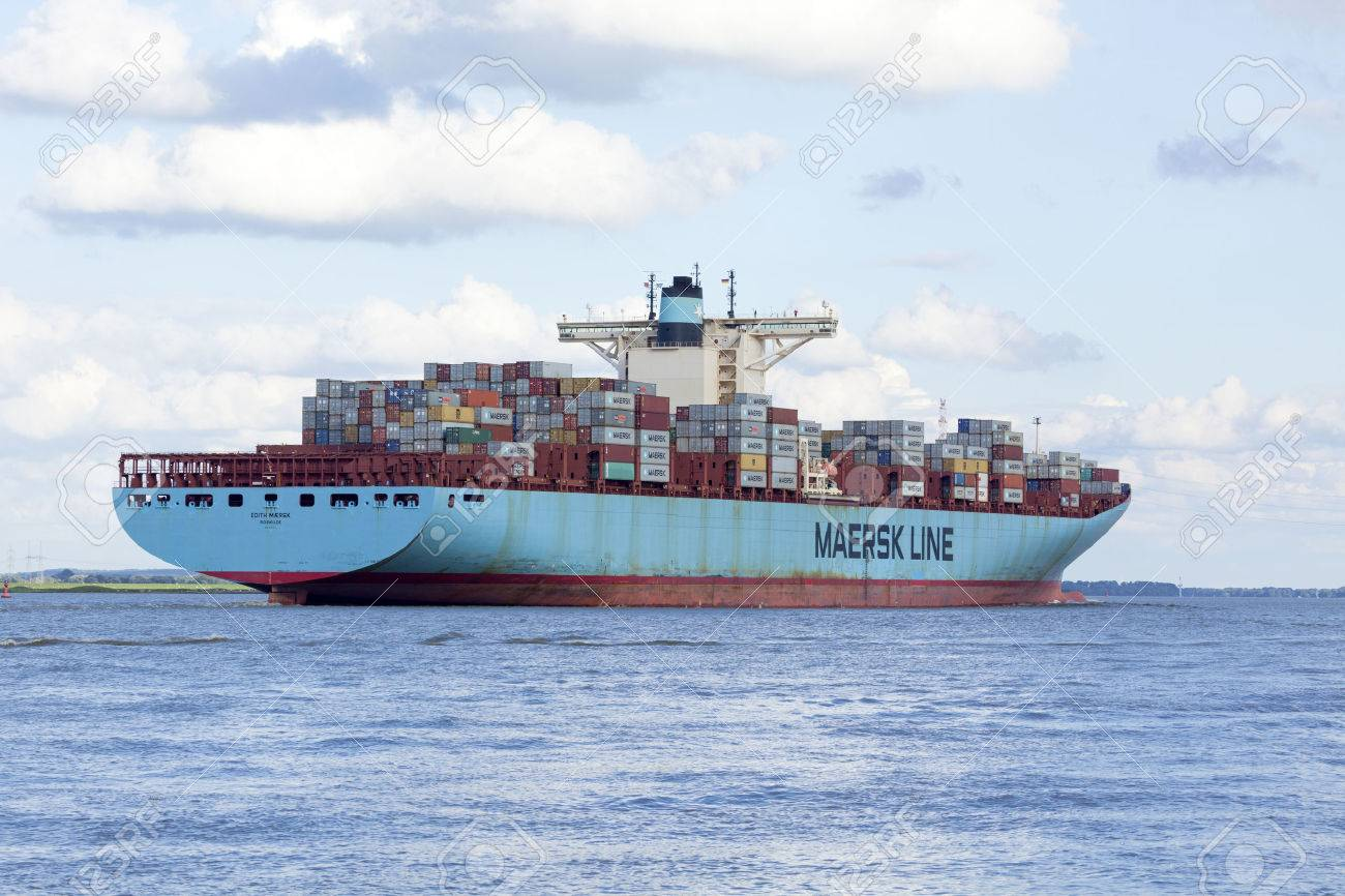 Stade, Germany - August 21, 2016: EDITH MAERSK, one of the world