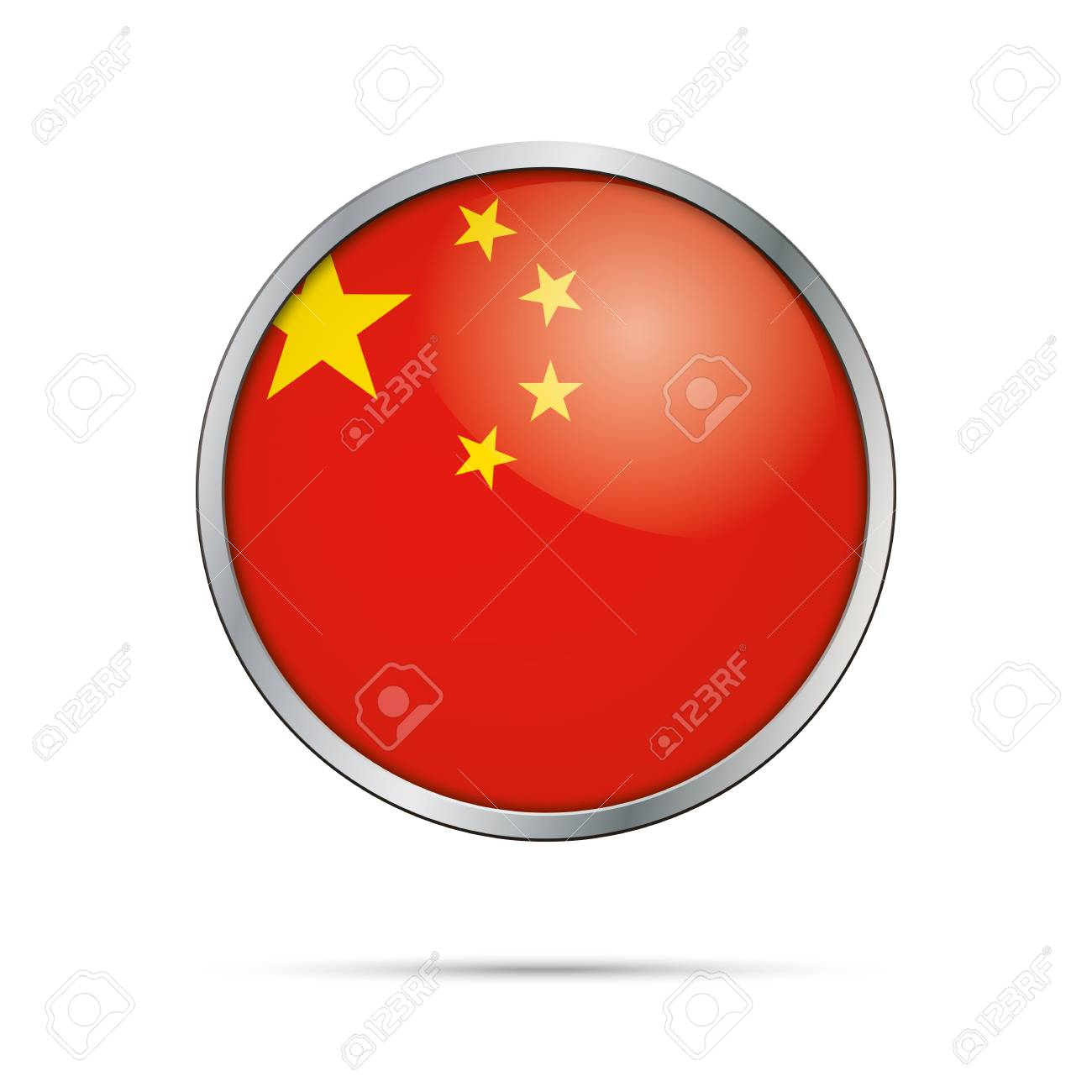 Vector Chinese flag button  Peoples Republic of China flag glass