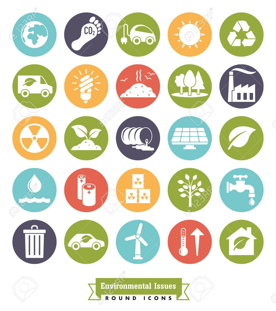 Collection of Environment and Climate related round color vector icons - 70945381