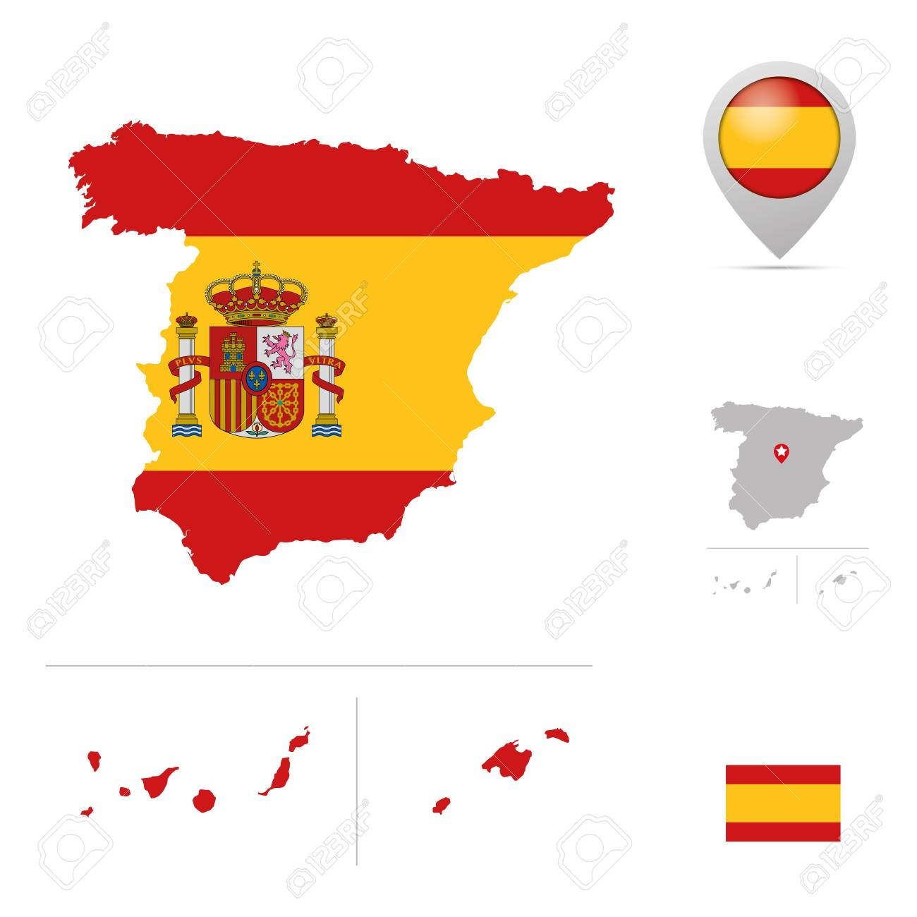 Spain Map In National Flag Colors Flag Marker And Location