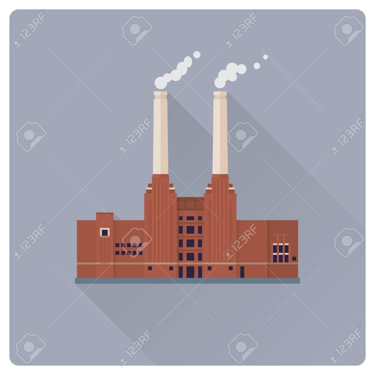 flat design long shadow coal power plant building vector illustration