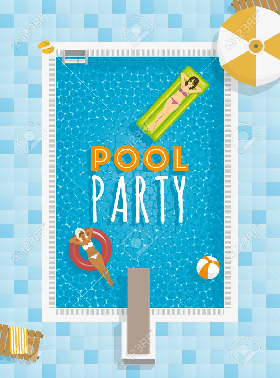 Pool party template with girls relaxing on swimming pool float..