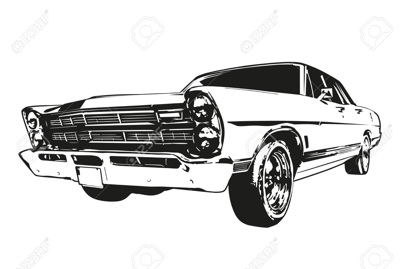 Silhouette Of Vintage American Muscle Car From The 1960s Royalty ...