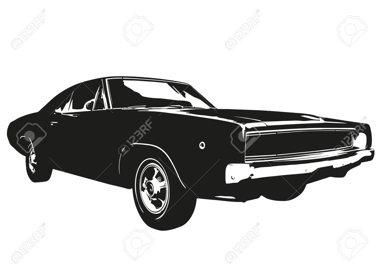 American Vintage Muscle Car Silhouette Royalty Free Cliparts