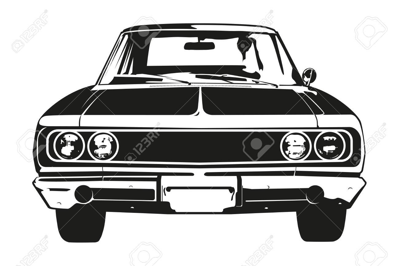 Front View Silhouette Of Vintage American Muscle Car Royalty Free