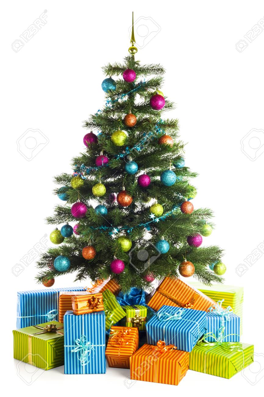 Giftboin Blue Orange And Green Below Christmas Tree Decorated With Baubles Stock P O