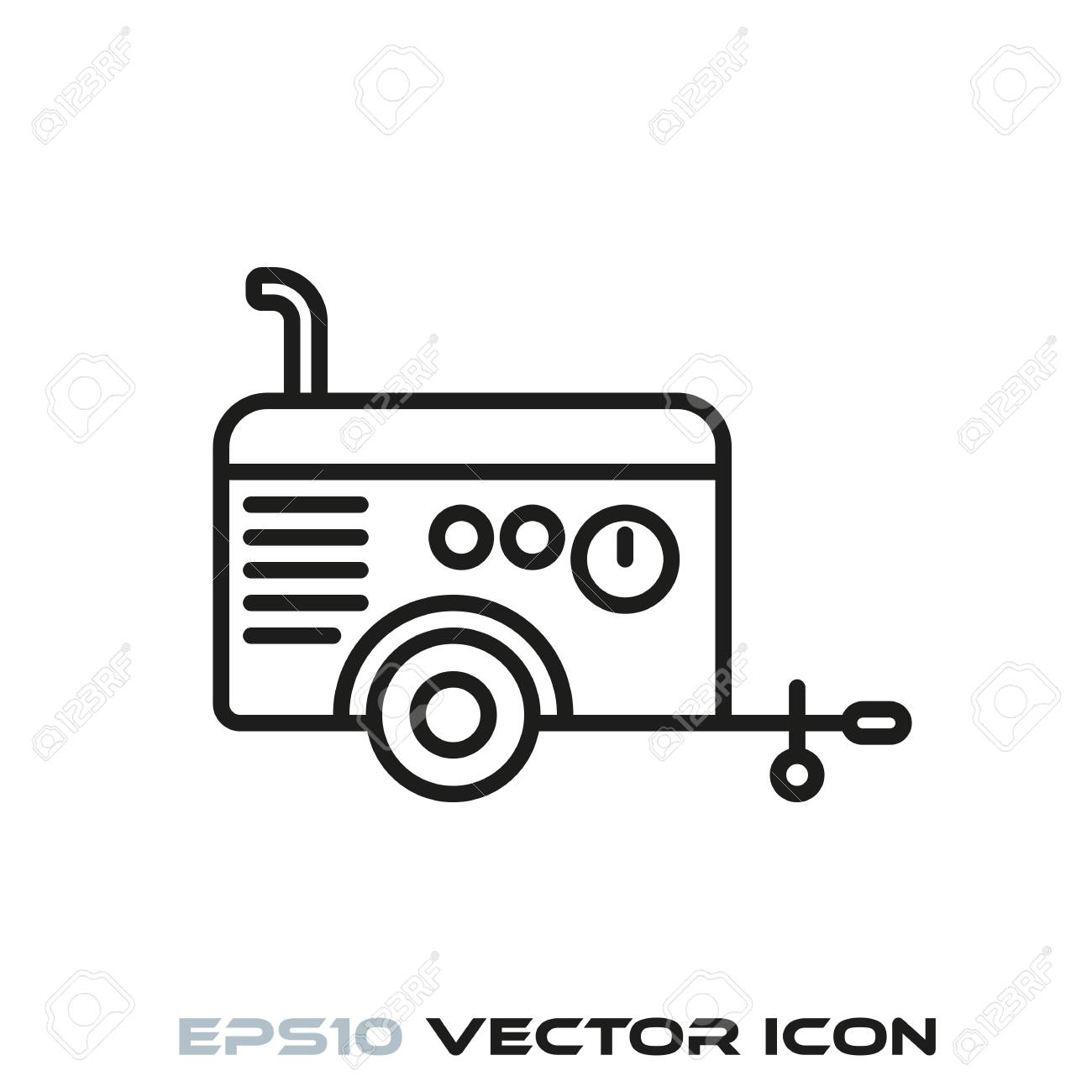 Mobile Air Compressor >> Mobile Air Compressor Cart Flat Line Icon Vector Royalty Free
