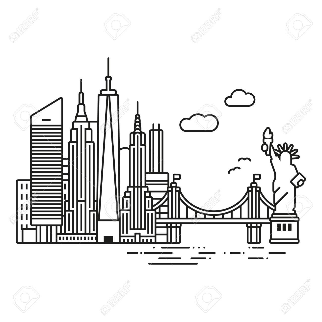 Line Icon Style New York City Skyline Vector Illustration Royalty