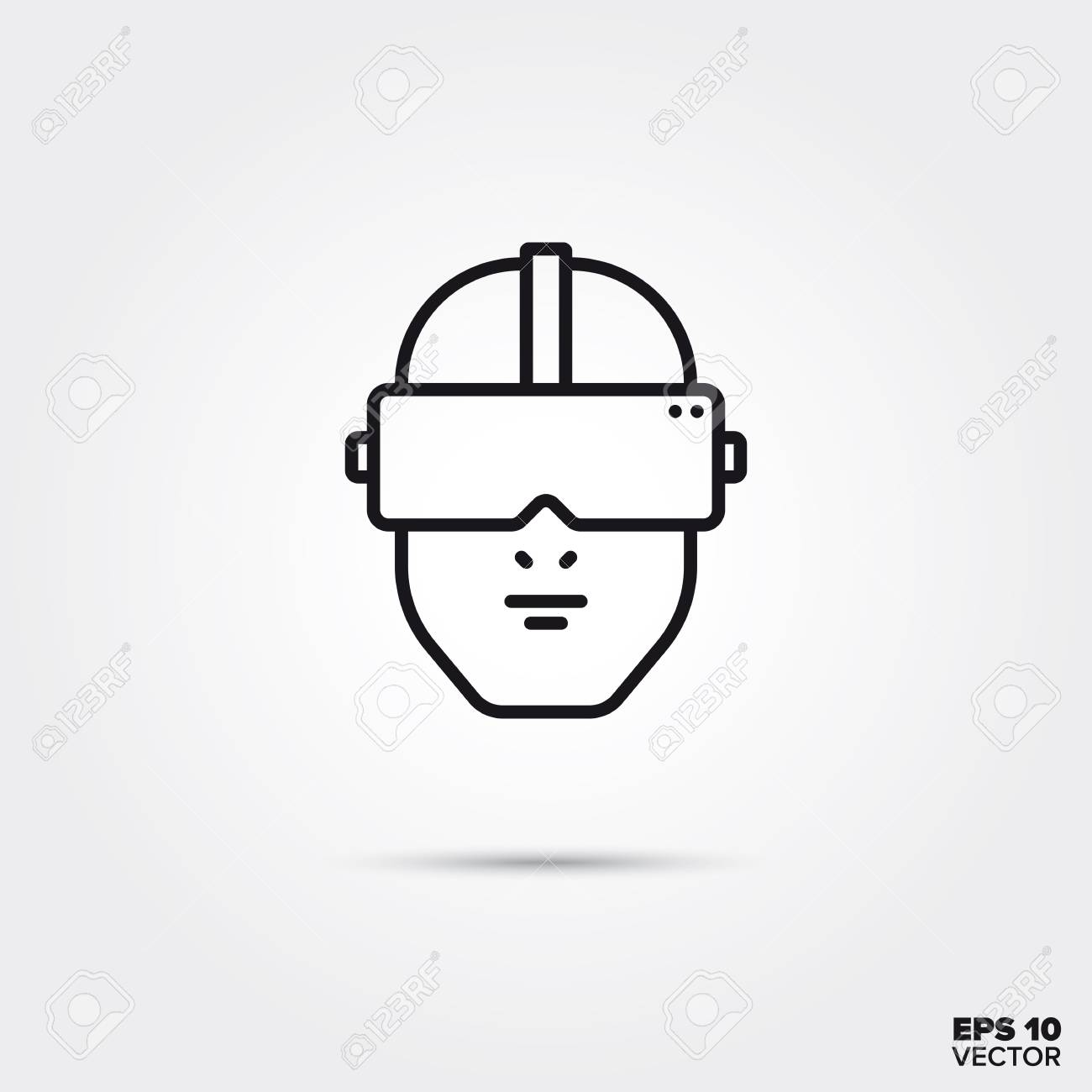 Human head with virtual reality goggles line icon vector illustration. Media and entertainment symbol. - 113448443