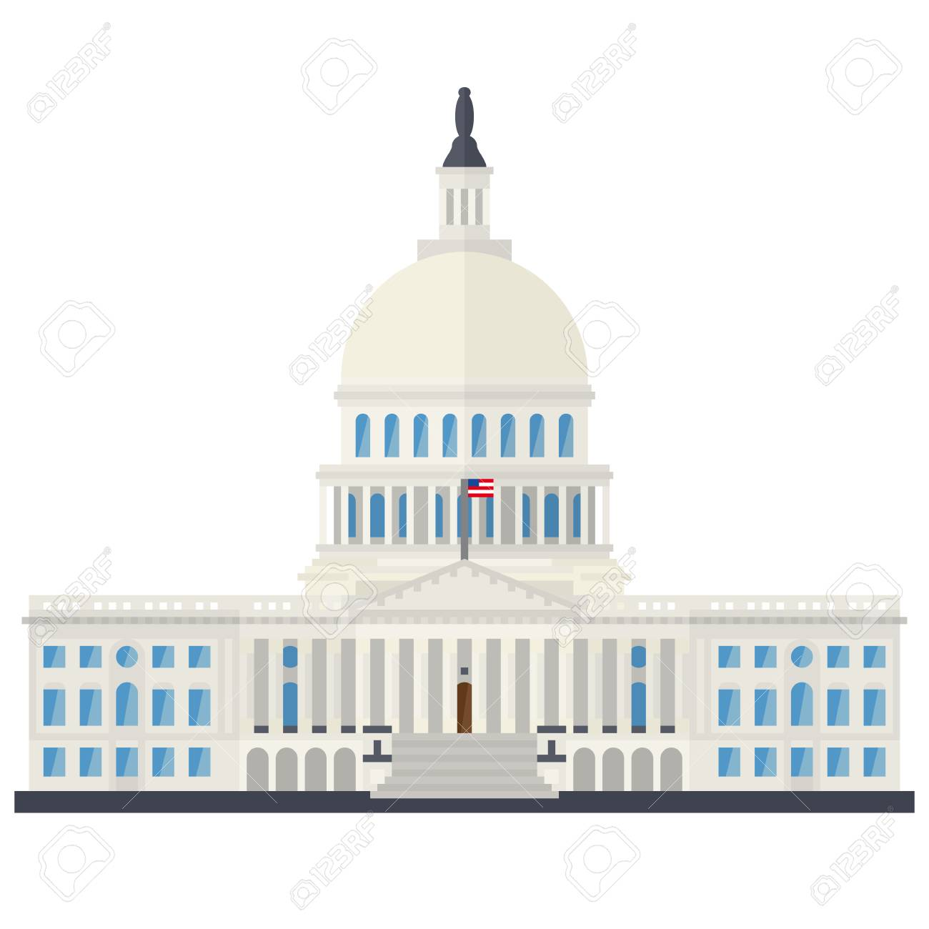 The Capitol building at Washington, D.C., USA, flat design isolated vector illustration - 124925986
