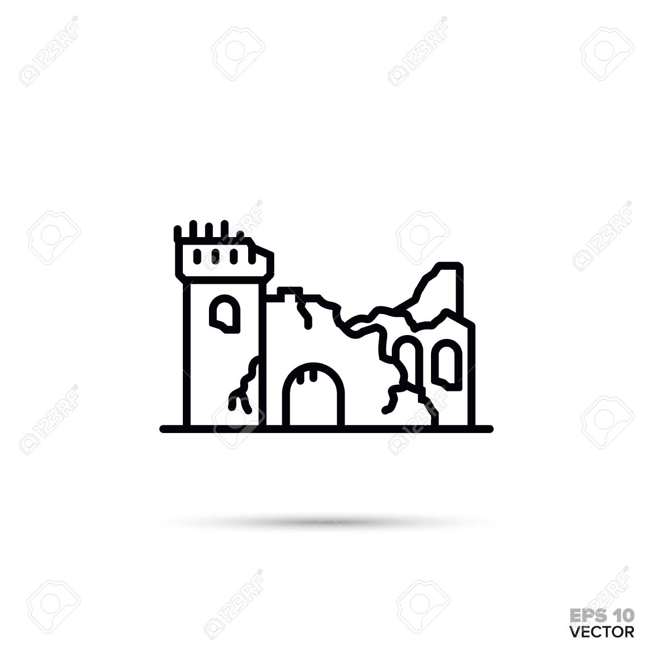 Fantasy Castels Art Black And White Clipart