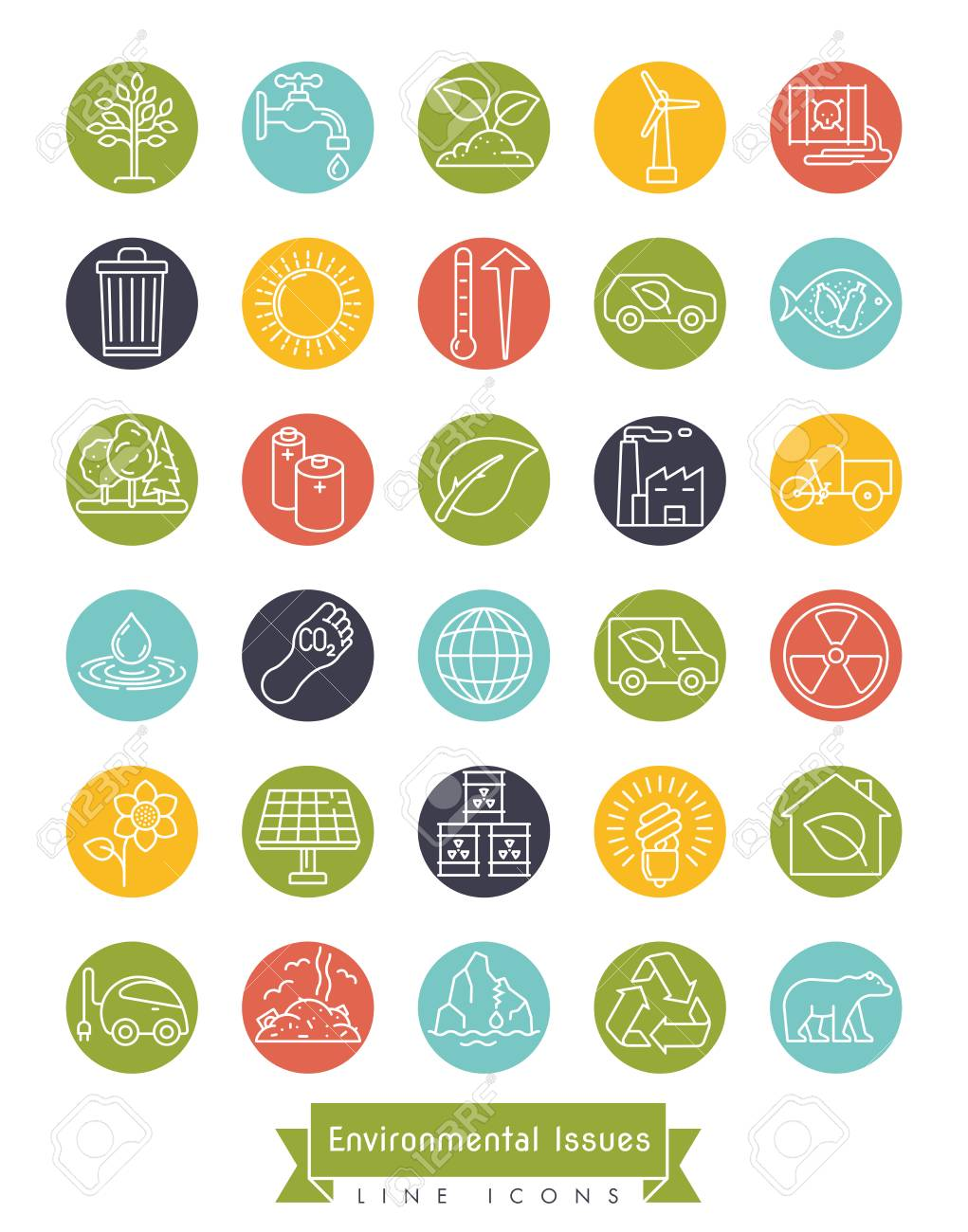Collection of Environment and Climate related vector line icons in colored circles. Sustainability, global warming and polution symbols. - 120508924