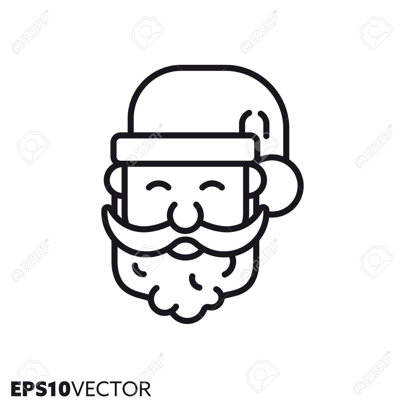 Santa Claus face line icon. Outline symbol of christmas holidays..