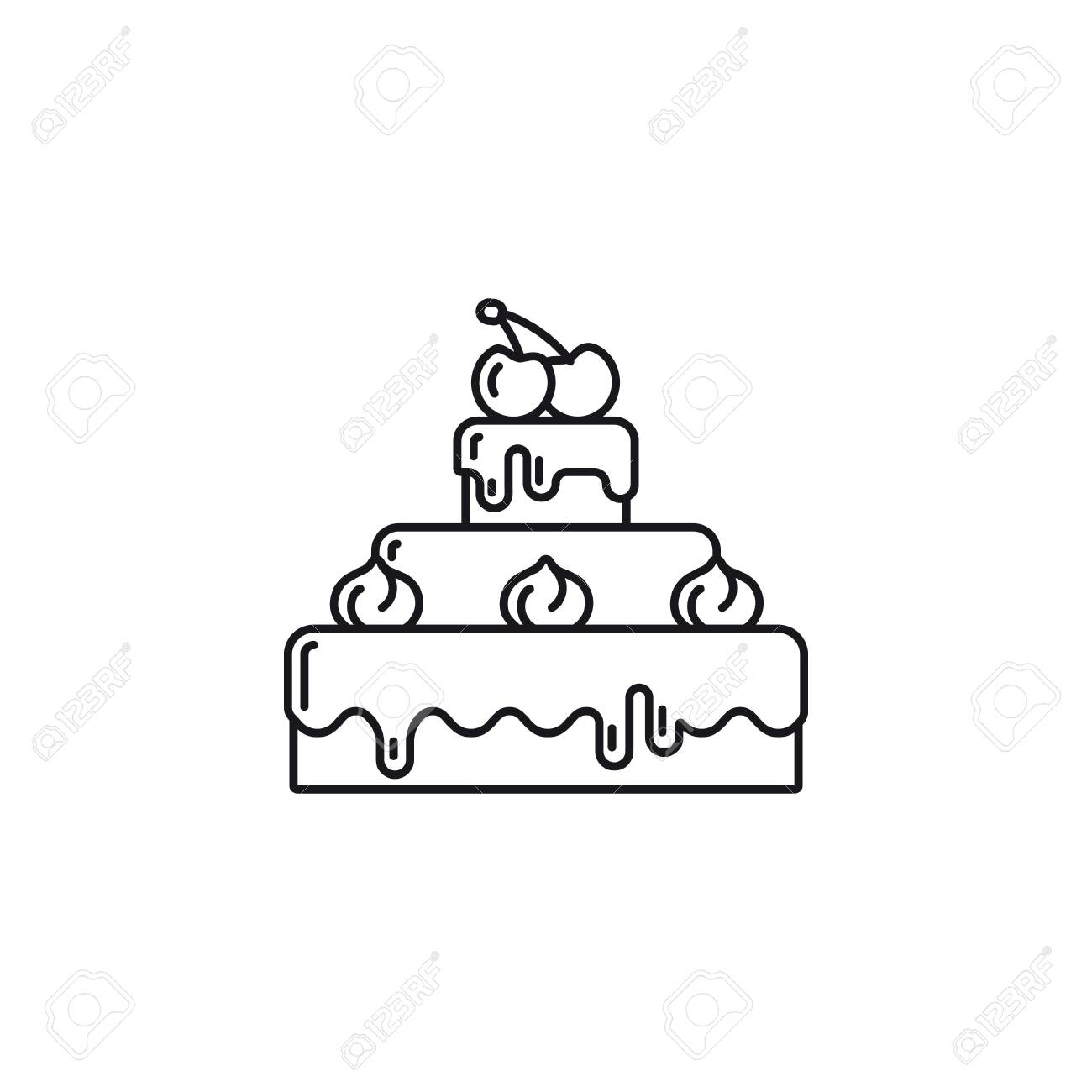 Chocolate cake with cream and cherries on top outline icon. Sweet food vector symbol. - 137872596