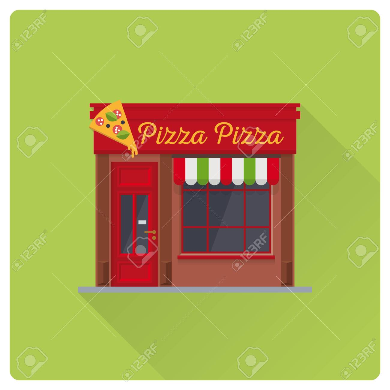 Flat Design Long Shadow Pizzeria Building Vector Illustration Cute Italian Restaurant Facade Ilustraciones Vectoriales Clip Art Vectorizado Libre De Derechos Image 146113291