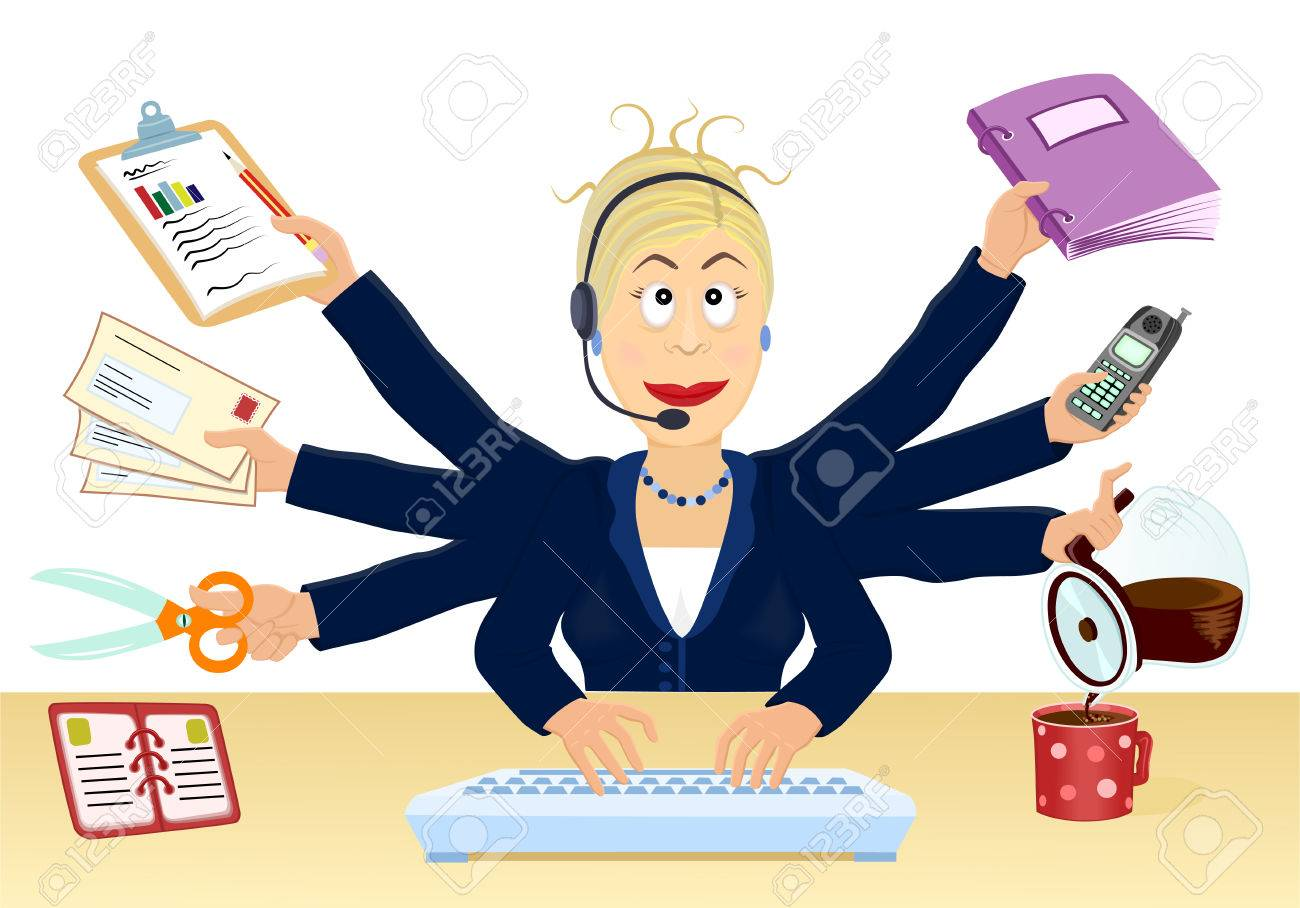 Stress and multitasking at the office - Vector illustration Stock Vector - 4929281