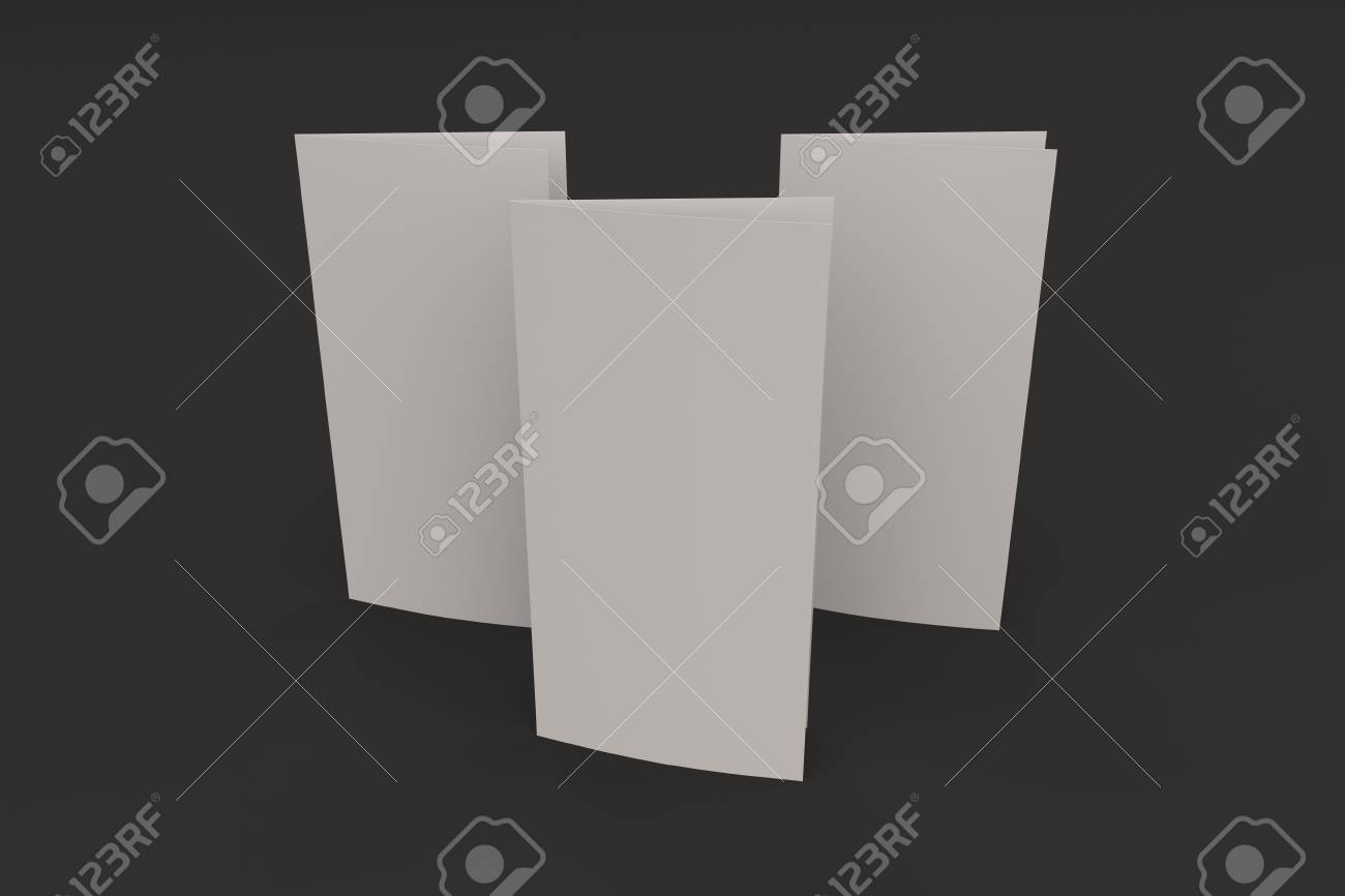 blank white two fold brochure mockup on black background clean