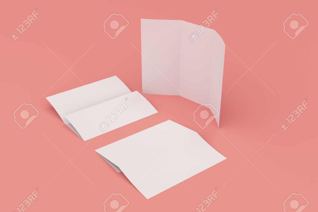 Blank White Three Fold Brochure Mockup On Red Background Leaflet - 3d brochure template