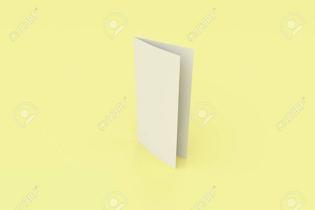 Leeres Broschürenbild Der Weißen Zwei Falten Auf Gelbem Hintergrund ...