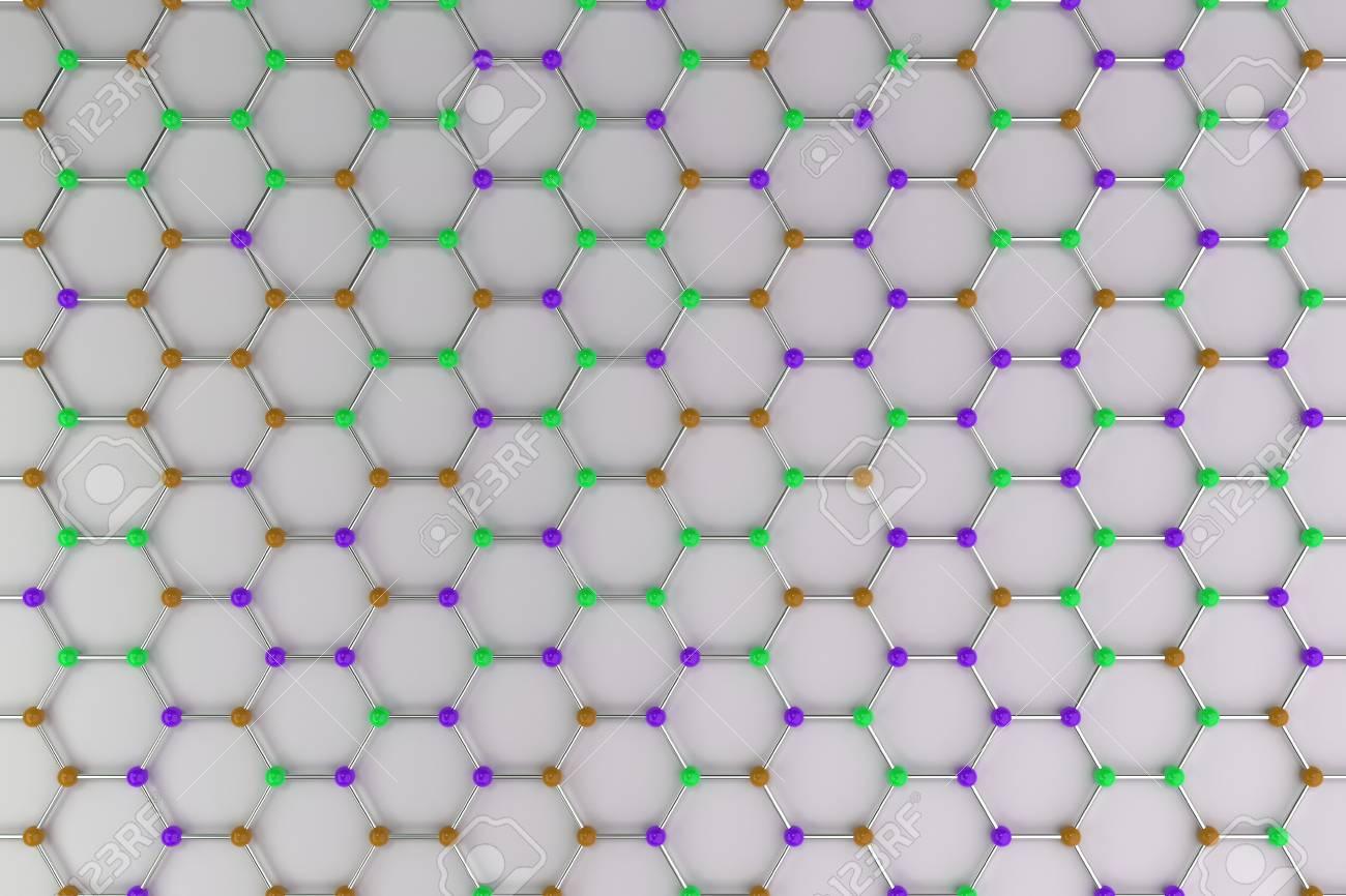 Estructura Atómica Del Grafeno Sobre Fondo Blanco Grilla Molecular Coloreada Hexagonal Concepto De Estructura De Carbono Red Cristalina