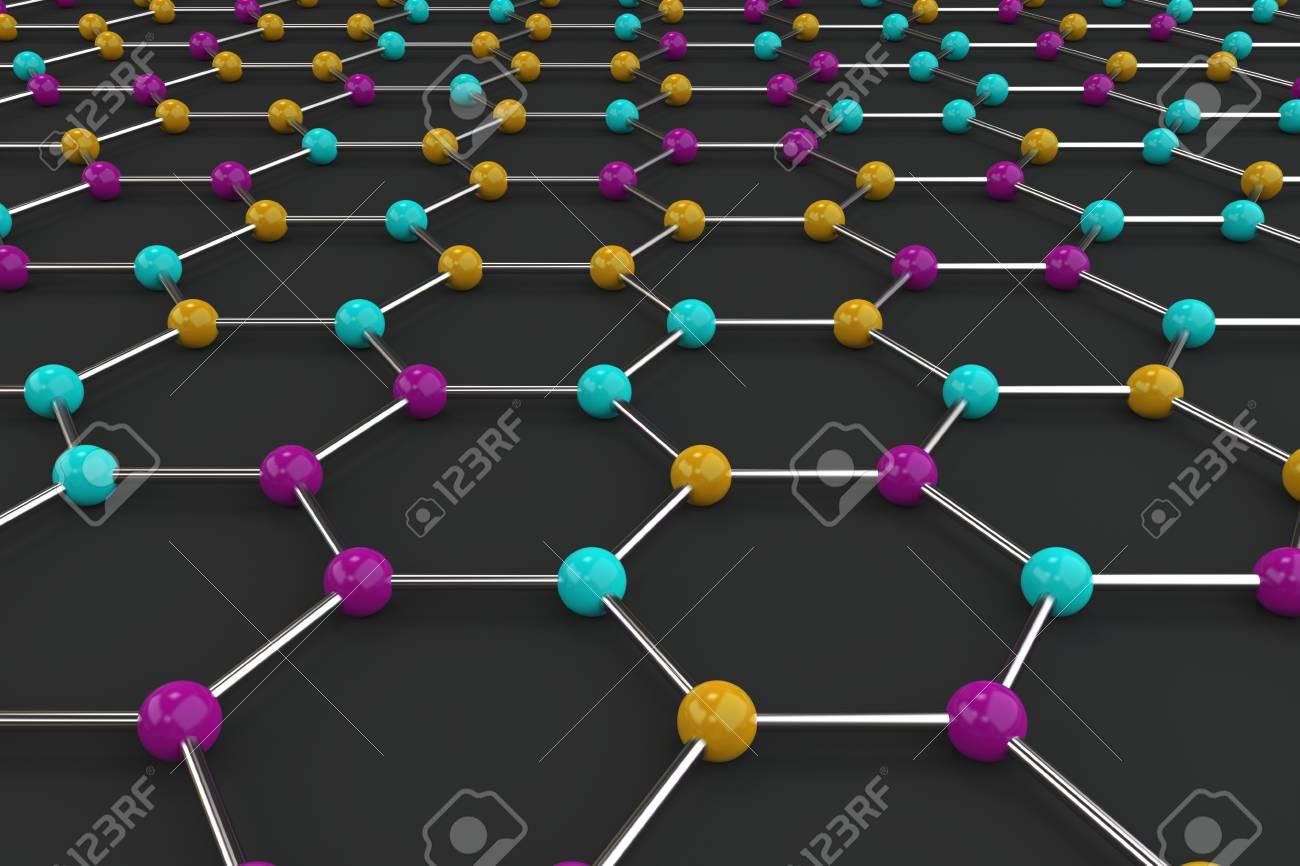 Estructura Atómica Del Grafeno Sobre Fondo Negro Grilla Molecular Coloreada Hexagonal Concepto De Estructura De Carbono Red Cristalina