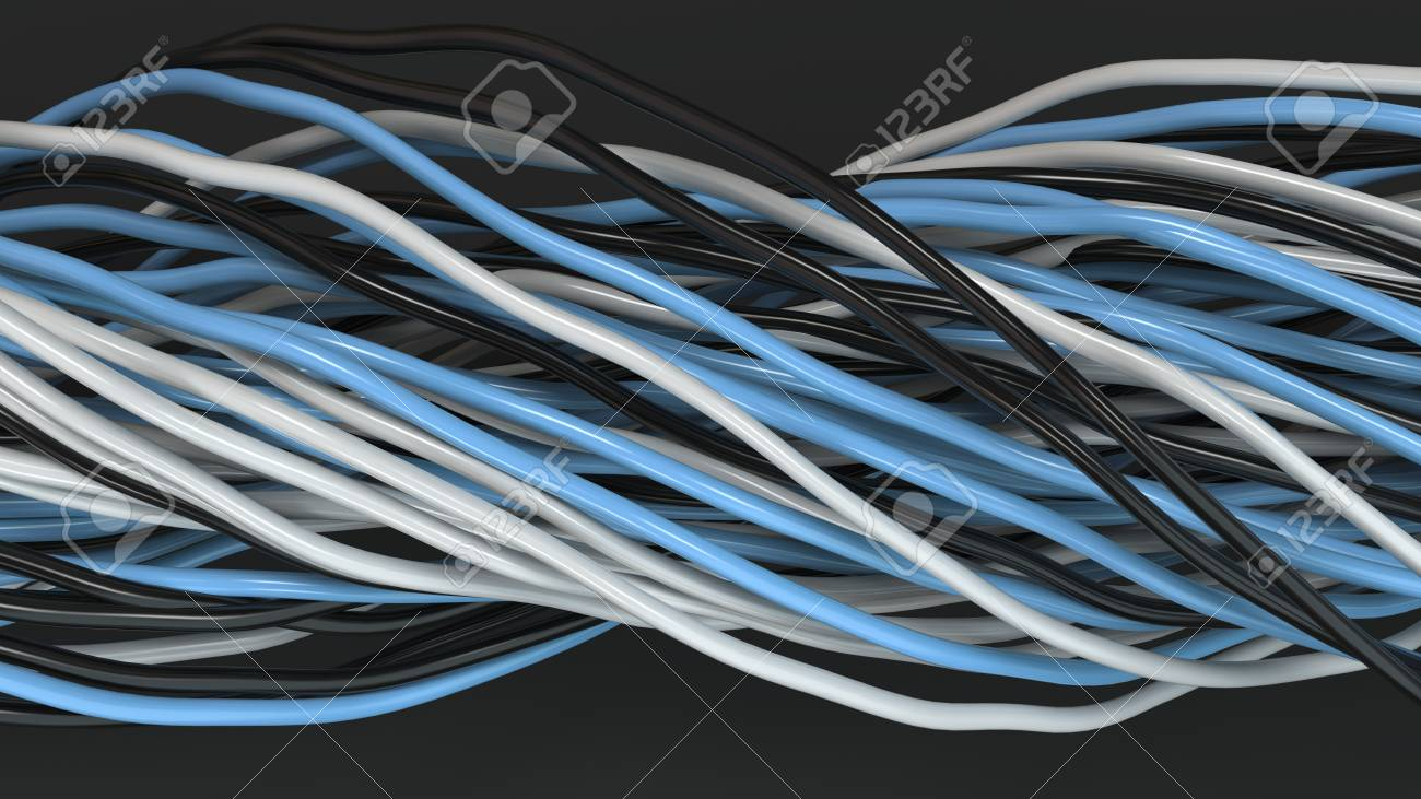 Twisted Black, White And Blue Cables And Wires On Black Surface ...