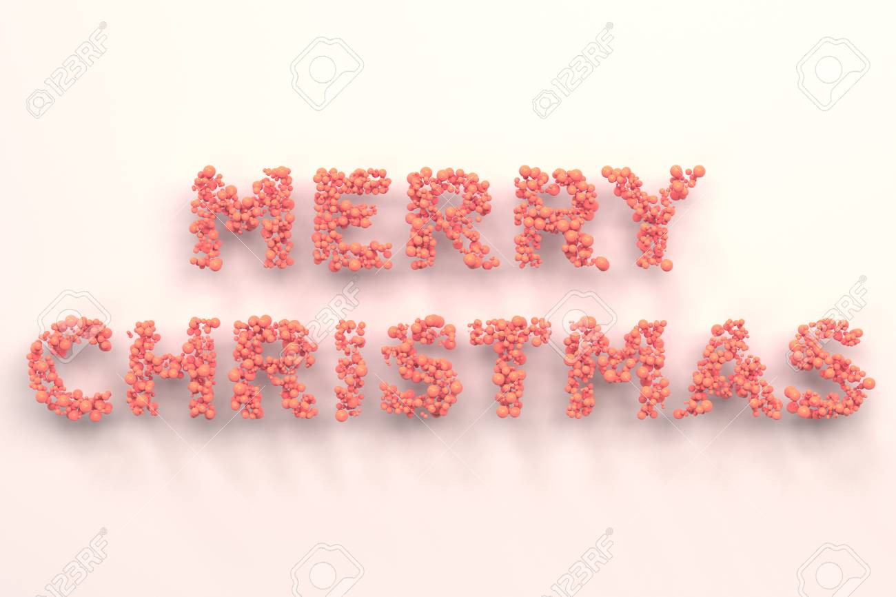 Merry Christmas Words From Red Balls On White Background. Christmas ...