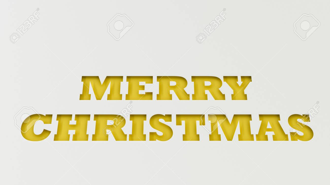 Yellow Merry Christmas Words Cut In White Paper. 3D Rendering ...