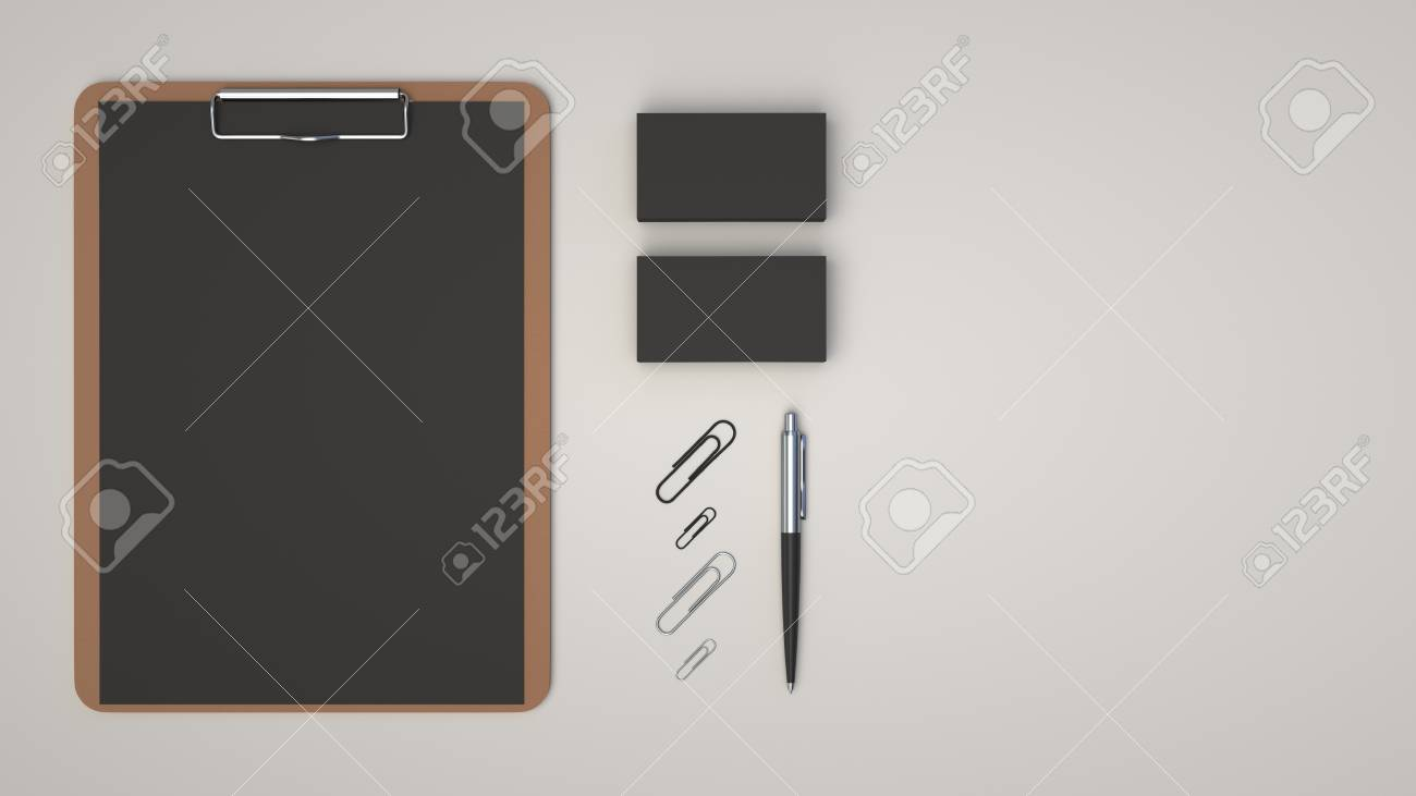 Clipboard With Black Sheet Of Paper Business Cards Paper Clips