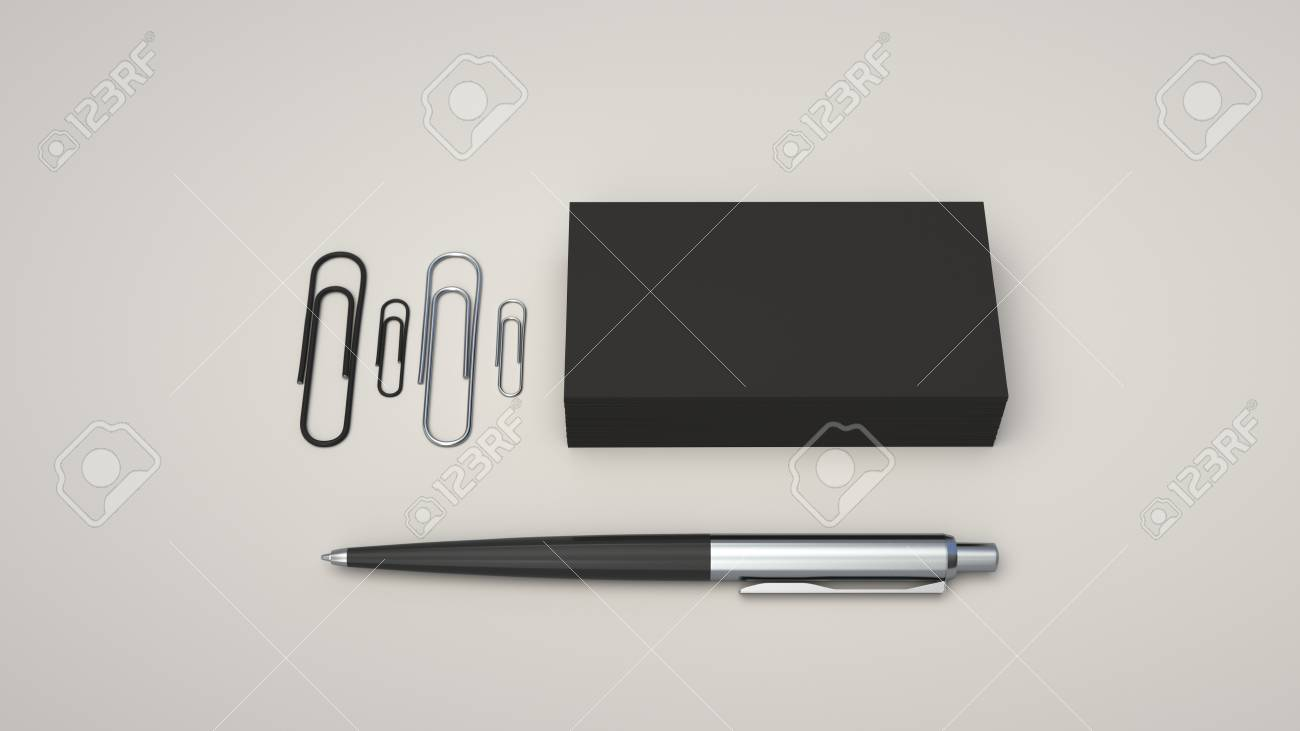 Black Business Cards Paper Clips And Automatic Ballpoint Pen