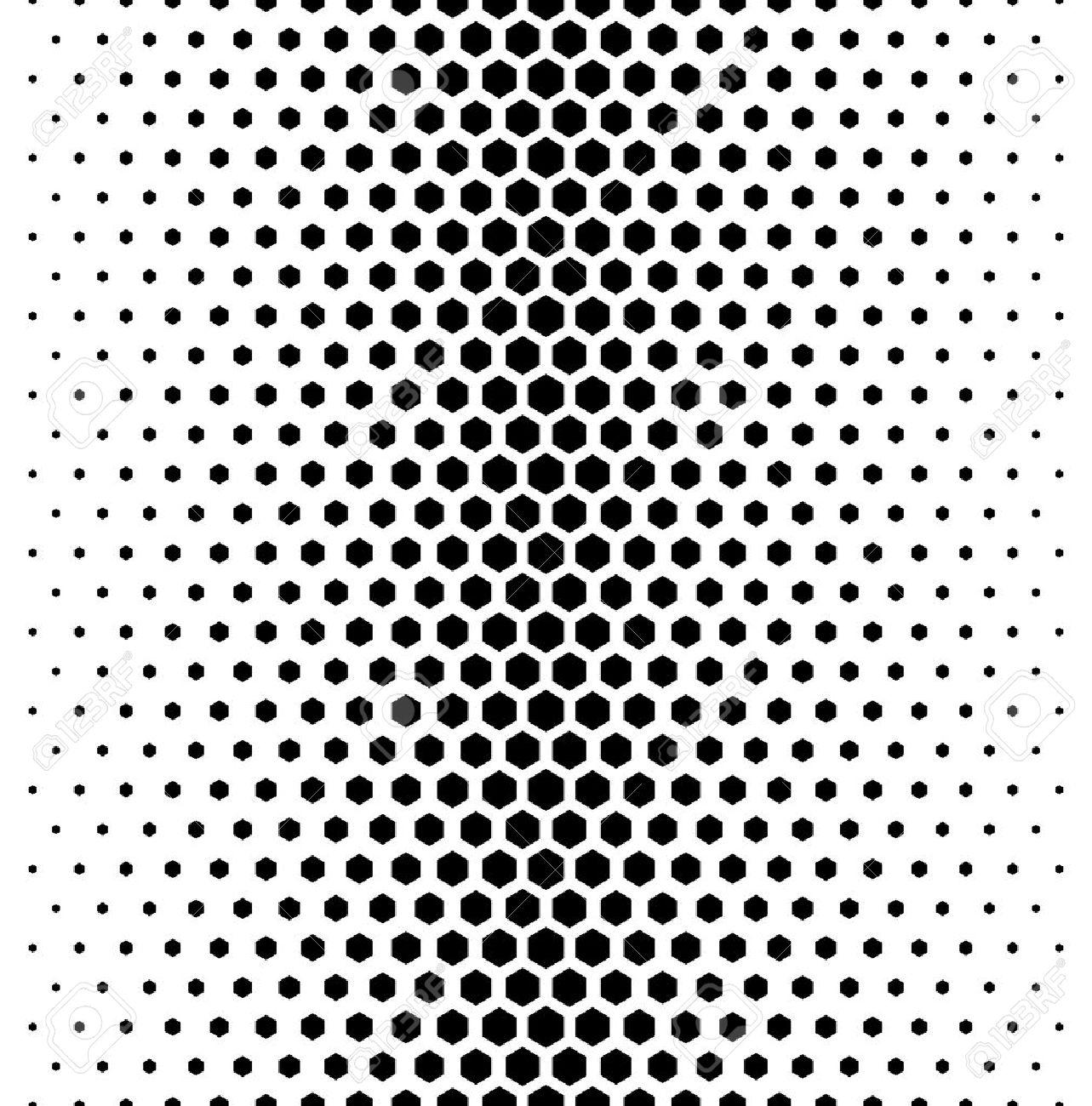 Vector modern tiles pattern. Abstract gradient op art seamless monochrome background with hexagon - 45352207