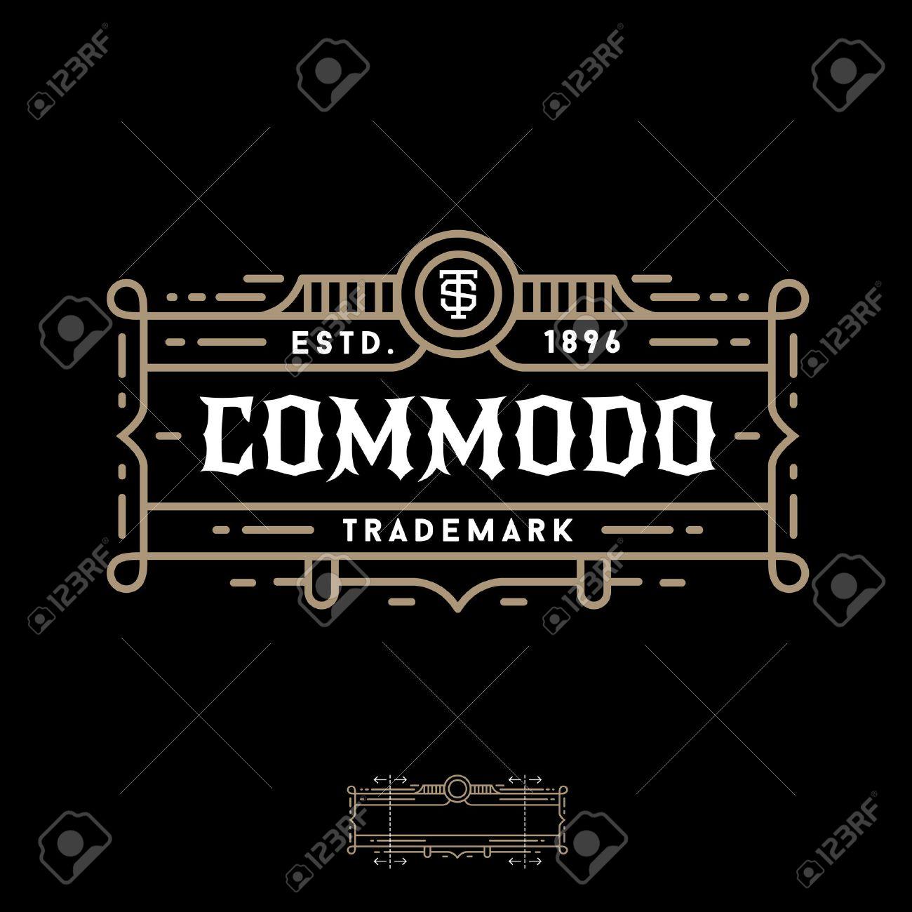 Luxury art deco monochrome  vector hipster minimal geometric vintage linear frame , border , label ,  badge for your logo or crest Stock Vector - 45352403