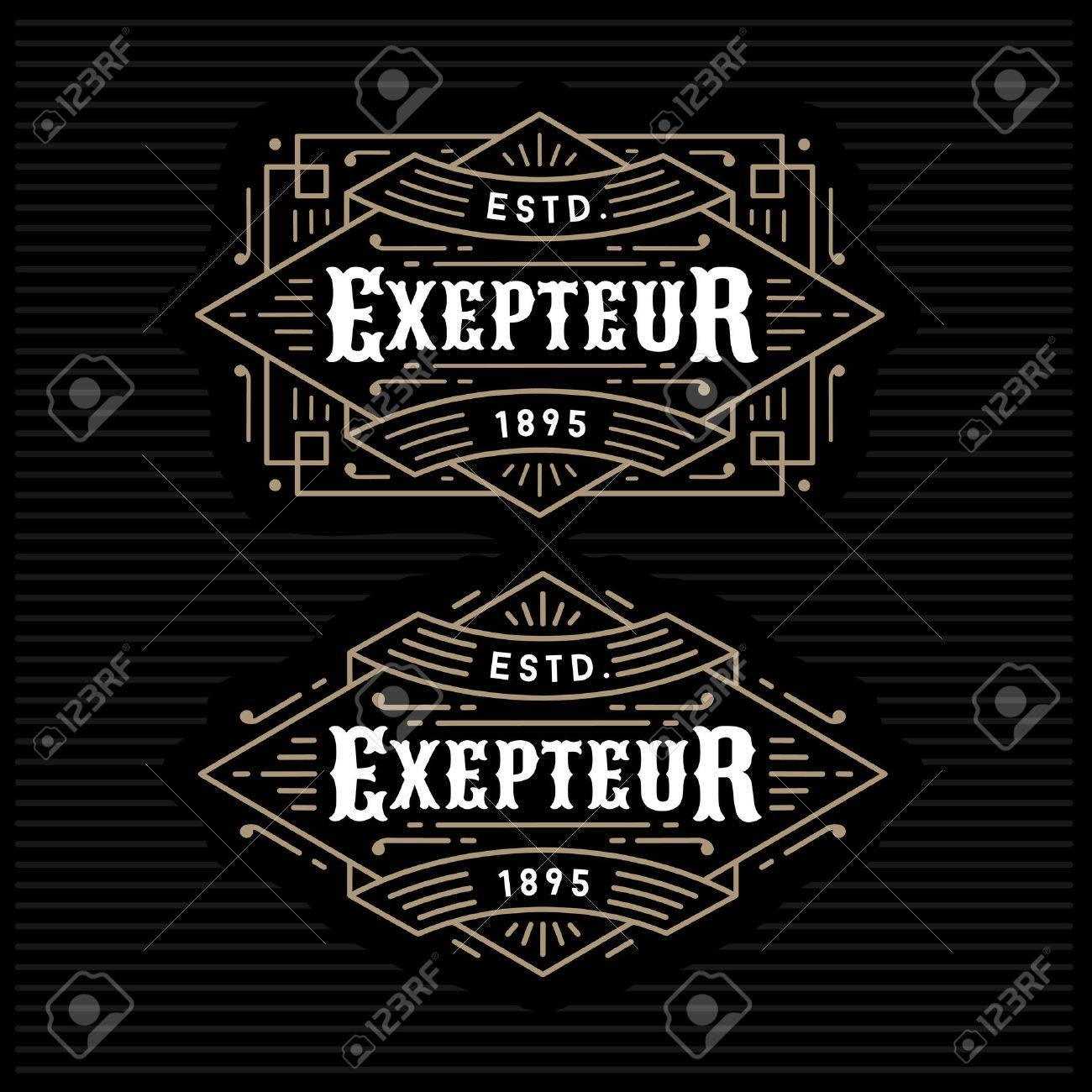 luxury antique gold monochrome art deco hipster minimal geometric vintage linear vector frame , border , label  for your logo, badge or crest Stock Vector - 45352407