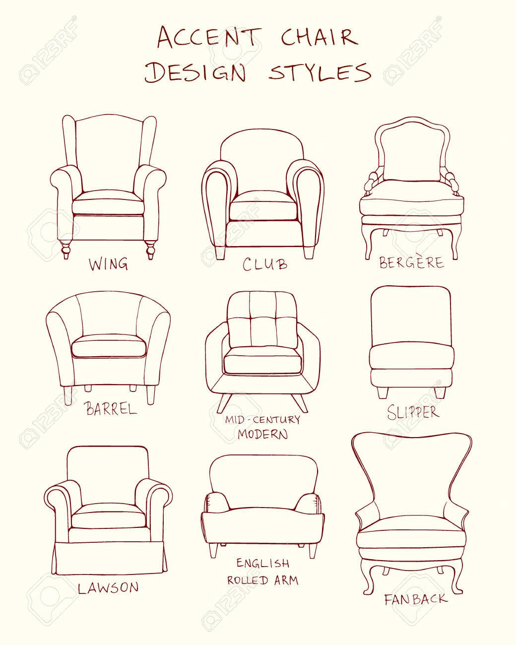 chair design drawing. Vector - Visual Guide Of Accent Chair Design Styles. Drawing