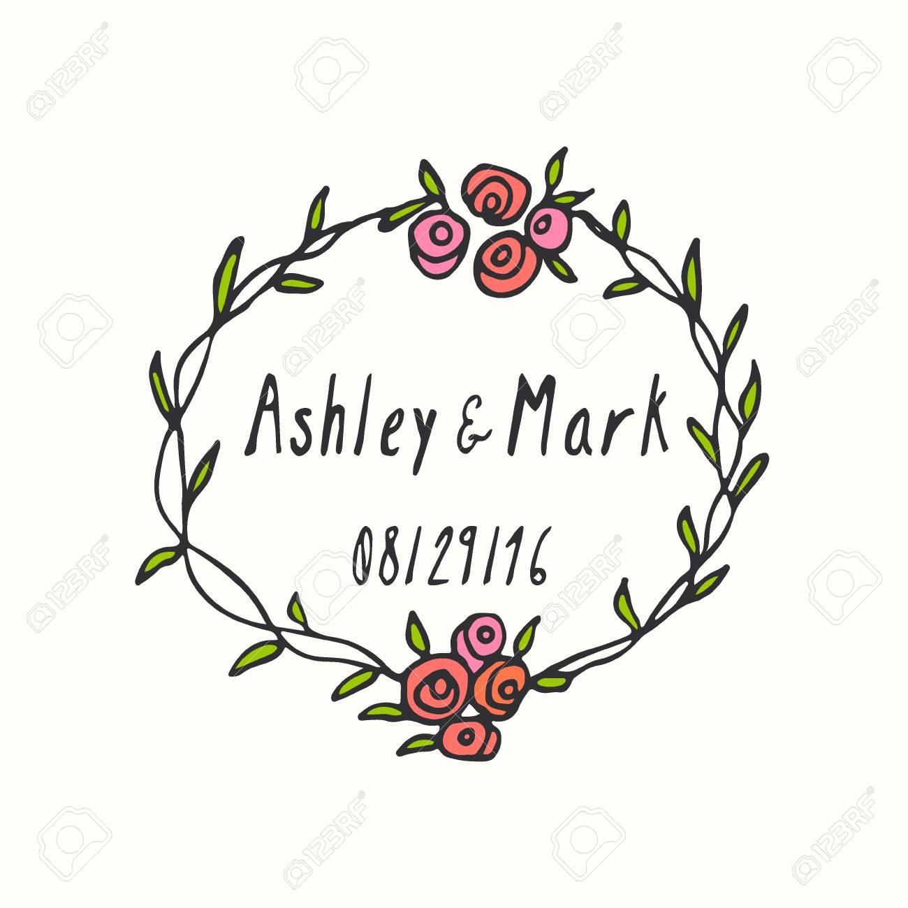 Vector Wedding Invitation Graphics. Hand Drawn Floral Wreath ...