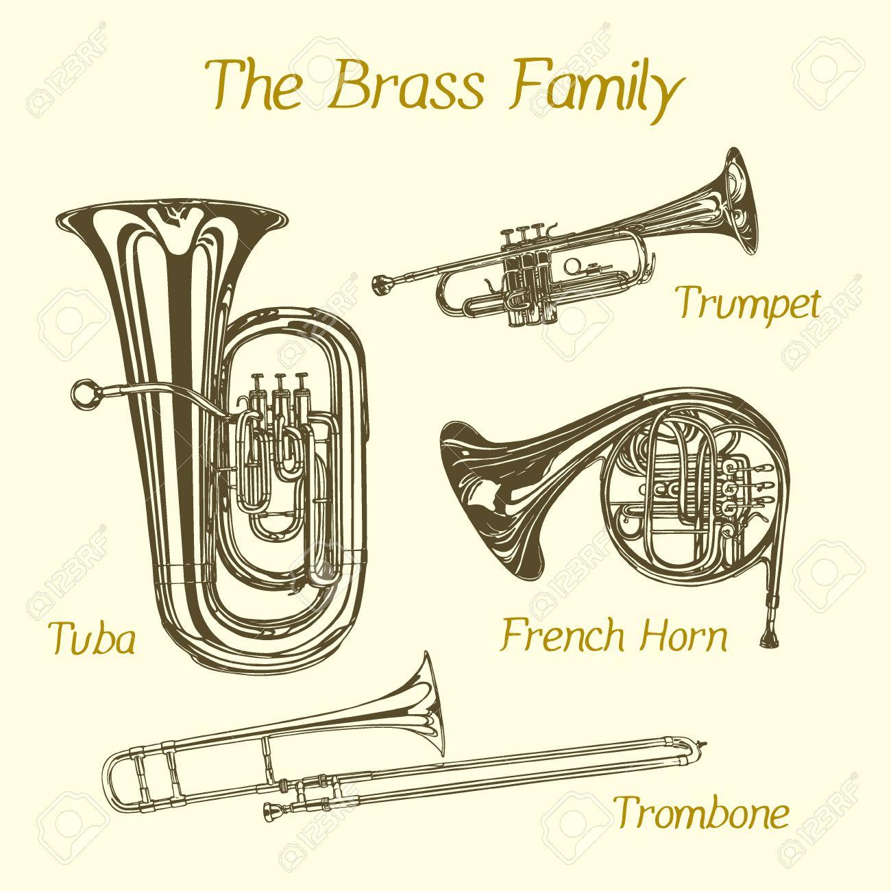 手のベクトル図には 金管楽器家族が描かれています 美しいインク チューバ トランペット トロンボーン フレンチ ホルンを描画します のイラスト素材 ベクタ Image