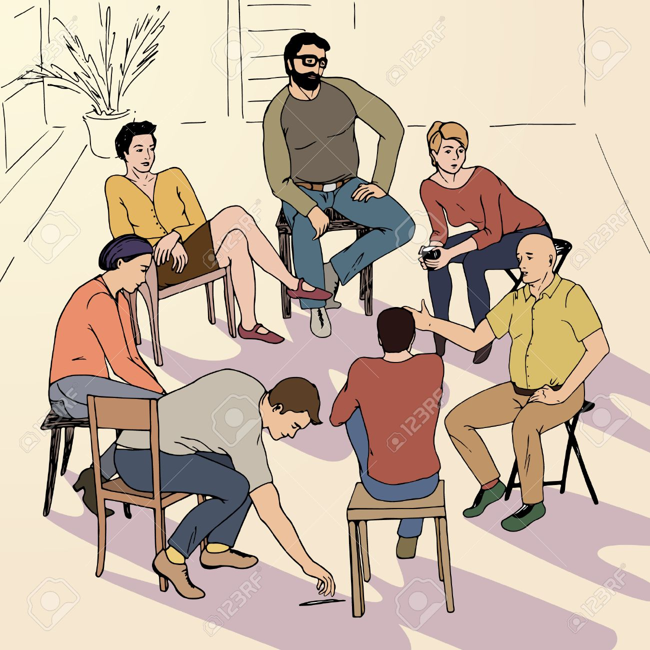 Hand drawn illustration of group therapy made in vector - 51919632