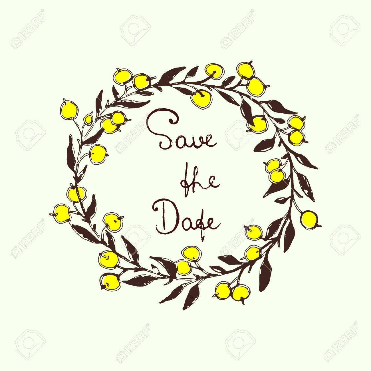 Vector Wedding Invitation Card. Hand Drawn Floral Wreath With ...