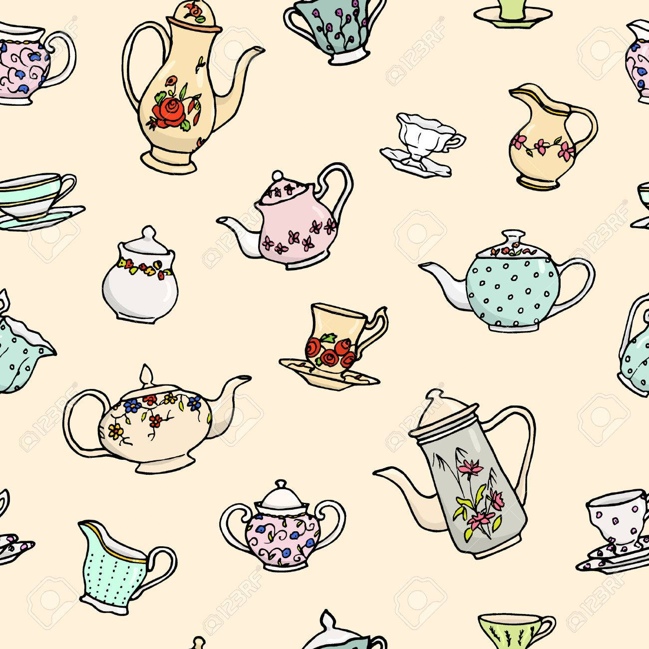 Vector seamless pattern with hand drawn vintage tea pots, cups, sugar bowls and milk jugs. Cute design elements, perfect for prints and backgrounds. - 51917943
