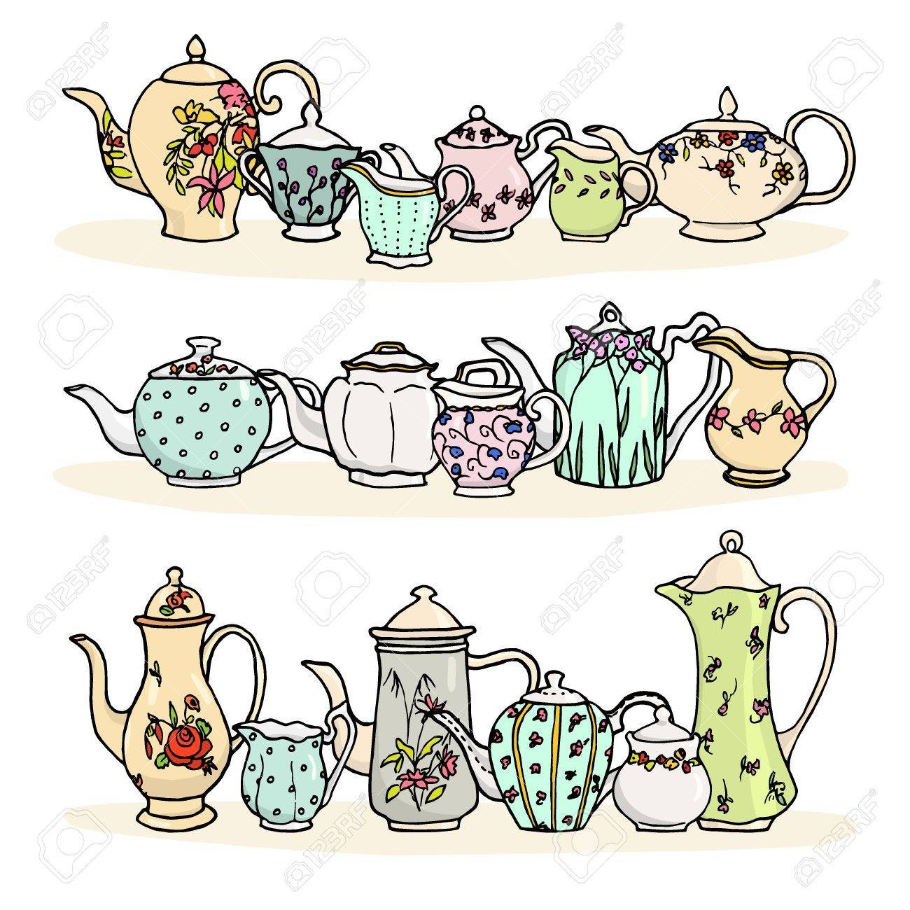 Vector illustration of vintage tea things. Hand drawn porcelain tea pots, sugar bowls and milk jugs. - 51917948