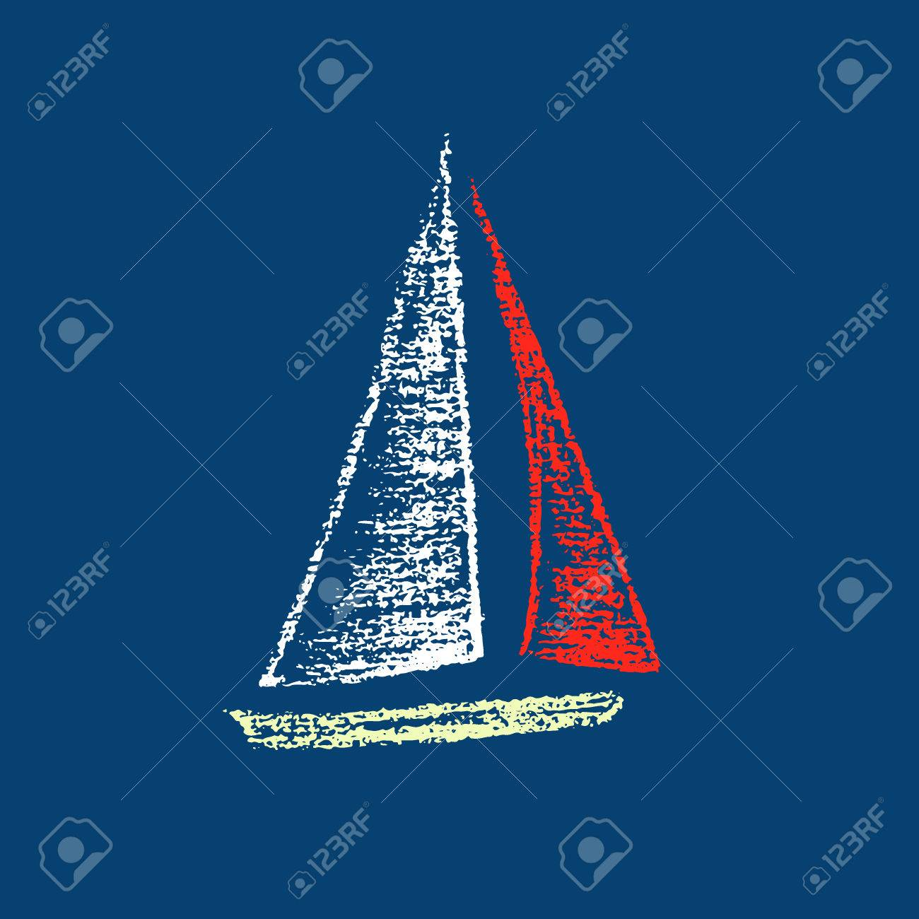 Vector illustration of sailing ship. Hand drawn with chalk sailing boat on deep marine background. Beautiful nautical design element. - 57158288