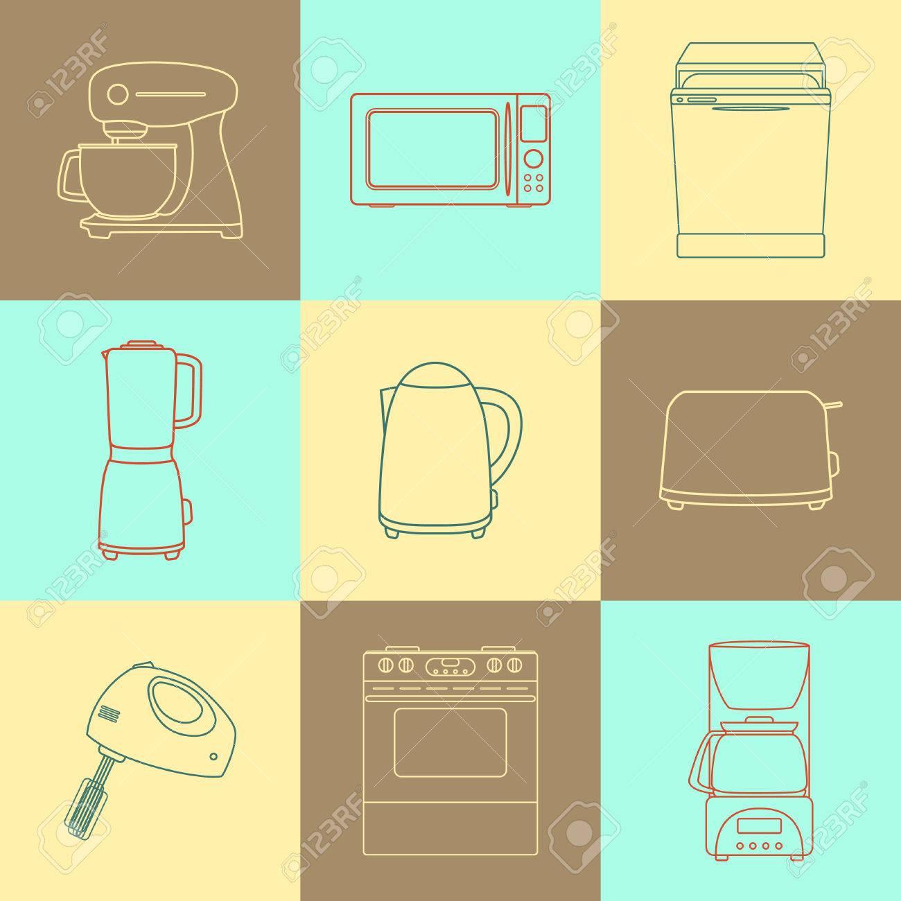 Conjunto De Iconos De Aparatos De Cocina. Cocine Colección ...