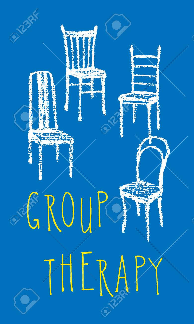 Vector illustration of chairs hand drawn with chalk. Simple group therapy poster - 57158415