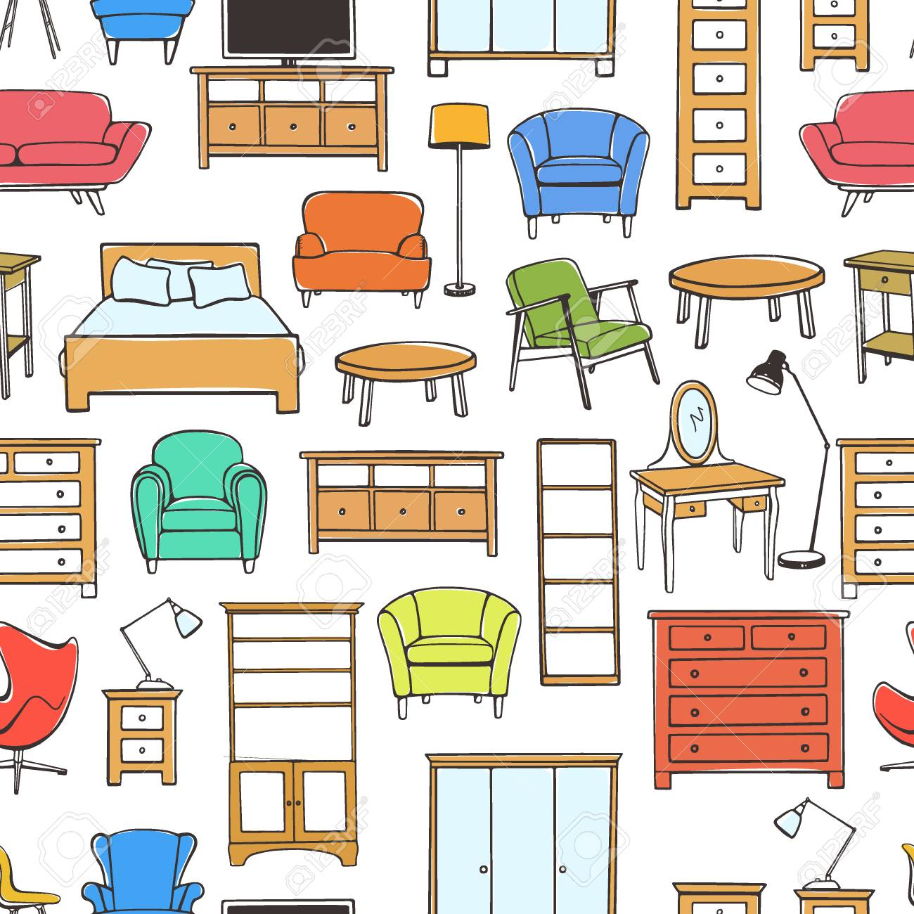 Patrón Transparente De Vector Con Muebles Dibujados A Mano. Hermosos ...