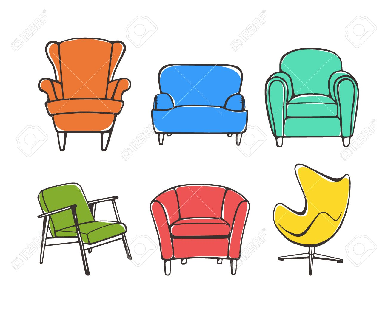 Chair design drawing - Vector Graphic Set Of Hand Drawn Accent Chairs Accent Chair Design Styles Vintage Colors