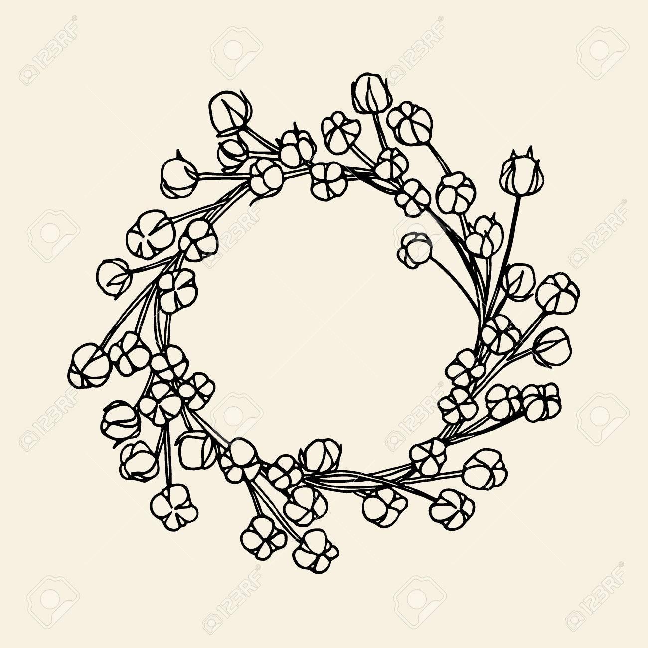 Vector Hand Drawn Couronne De Fleurs De Coton Belle Conception