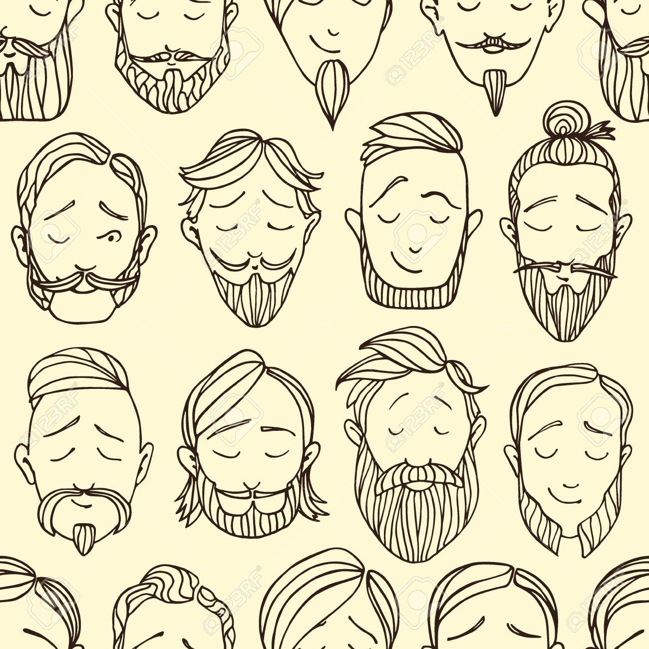 Vector Sin Patrón Con Los Estilos De Barba Ilustraciones. Dibujado A ...