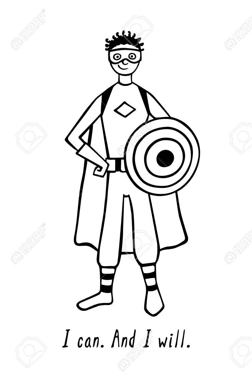 自信がある引用で自分自身で信じることヒーローの衣装を着ている男の子