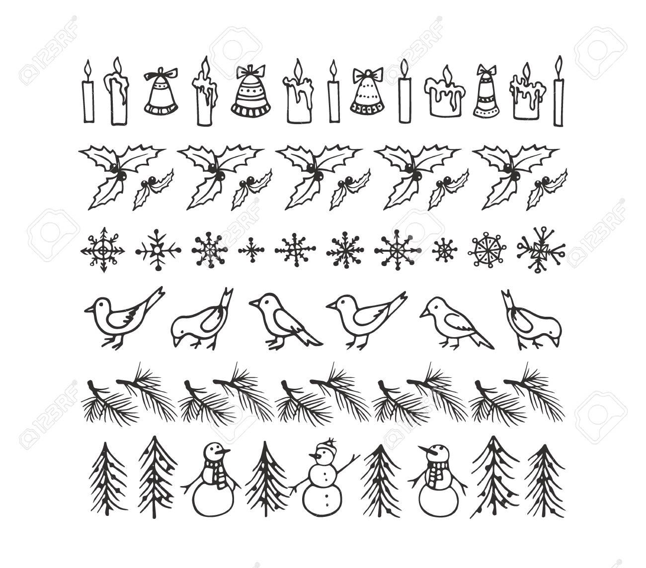 Vektor-Grafik-Set Von Hand Gezeichnet Weihnachten Grenzen. Schöne ...