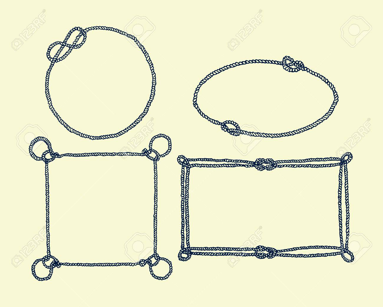 Vektor-Grafik-Set Von Hand Gezeichneten Rahmen Von Seil. Schöne ...